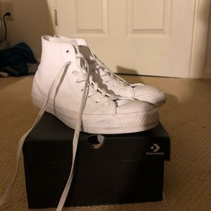 White high top leather converse
